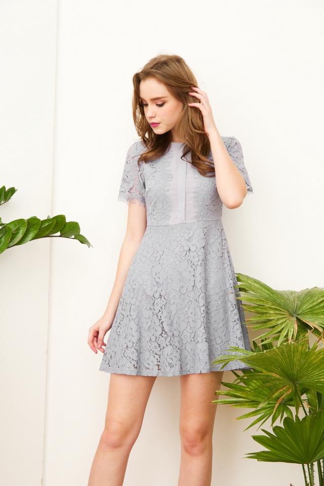Claudia Fringe Skater Dress in Grey (L)
