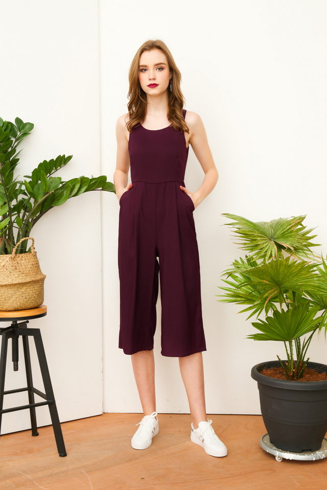 Ray Basic Culottes Jumpsuit in Purple