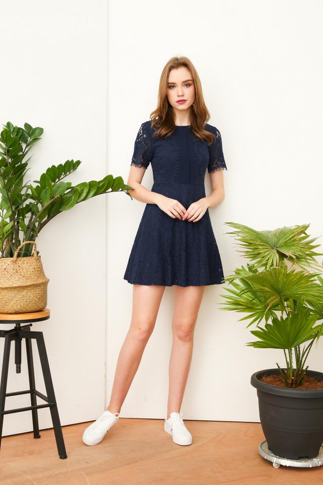 Claudia Fringe Skater Dress in Navy Blue