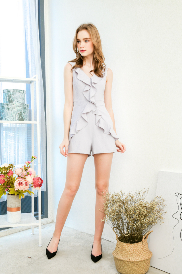 Fallon Ruffled Romper in Grey