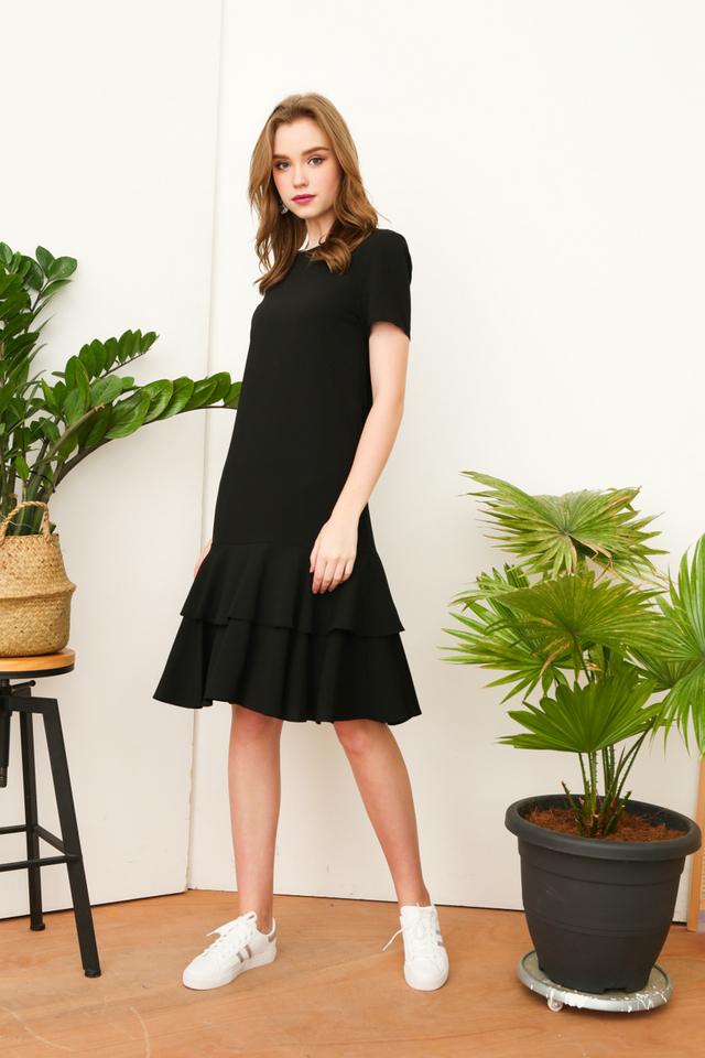 Elouise Double Tiered Hem Dress in Black (XS)