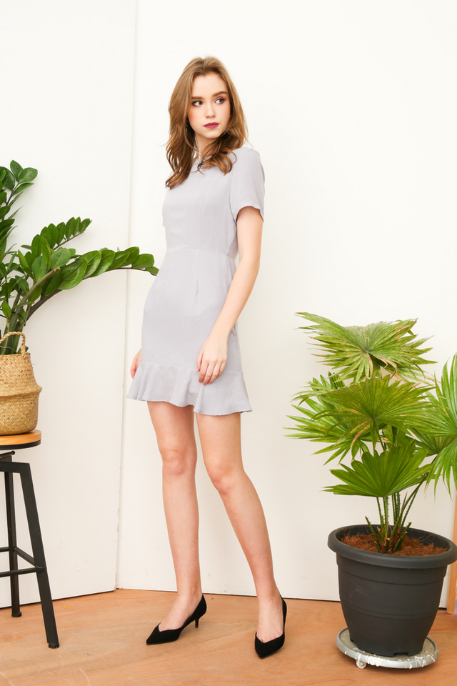 Jeannie Dropwaist Dress in Grey