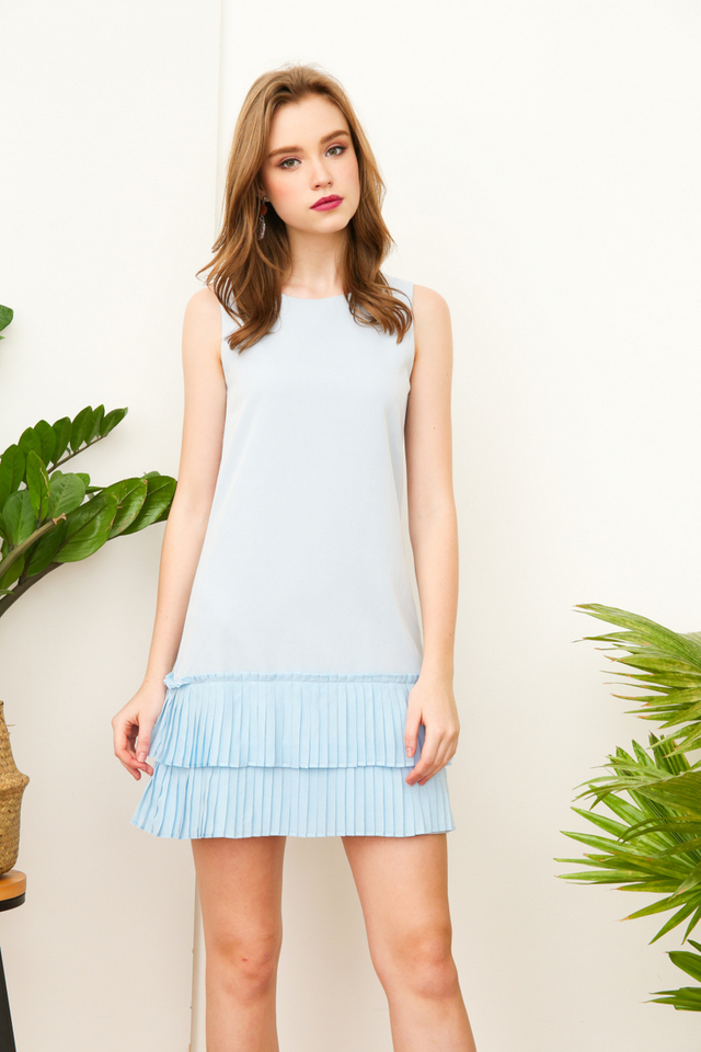Carl Double Tiered Pleats Dropwaist Dress in Baby Blue