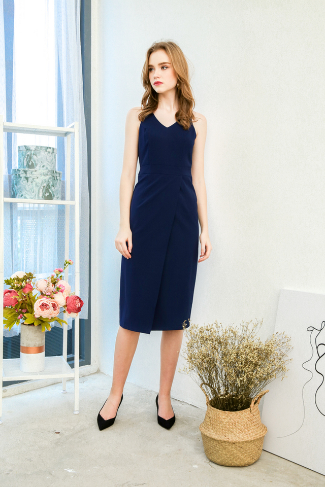 Kesha Overlap Work Dress  in Navy Blue