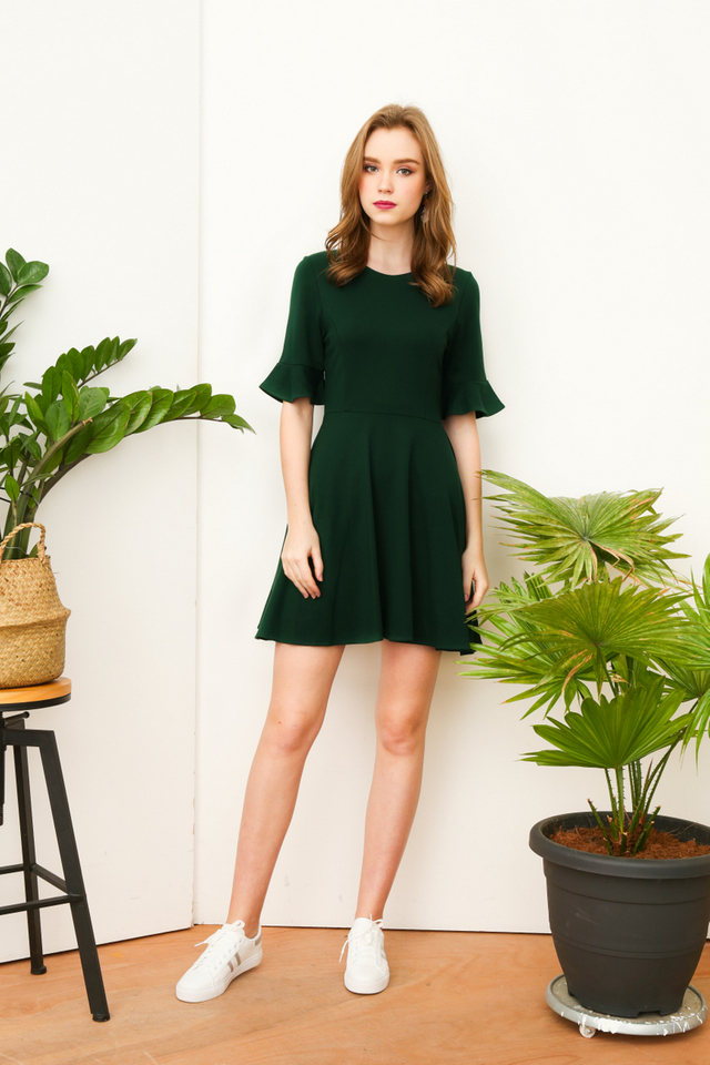 Noella Ruffle Sleeve Work Dress in Forest