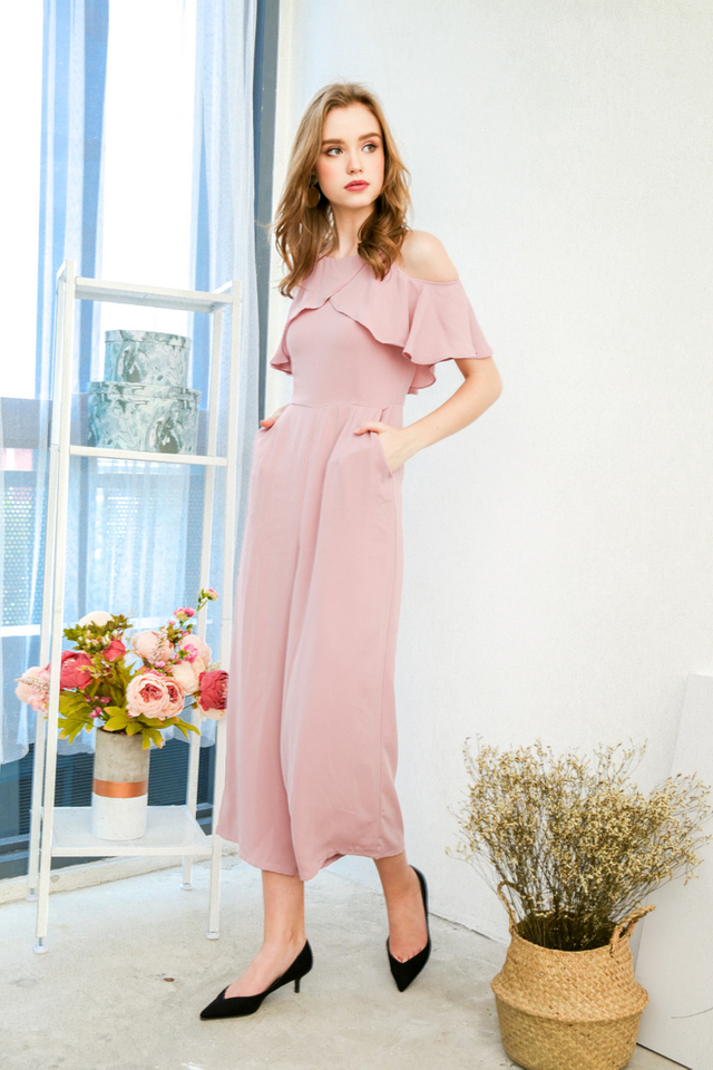 Sylvie Ruffled Cold Shoulder Jumpsuit in Dusty Pink