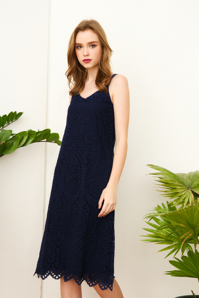 Nova Eyelet Midi Dress in Navy