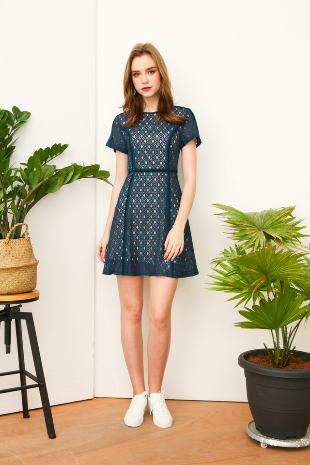 Ana Lace Work Dress in Prussian Blue (XS)