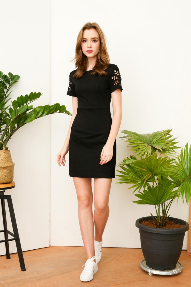 Holly Motif Cut Sleeve Work Dress in Black
