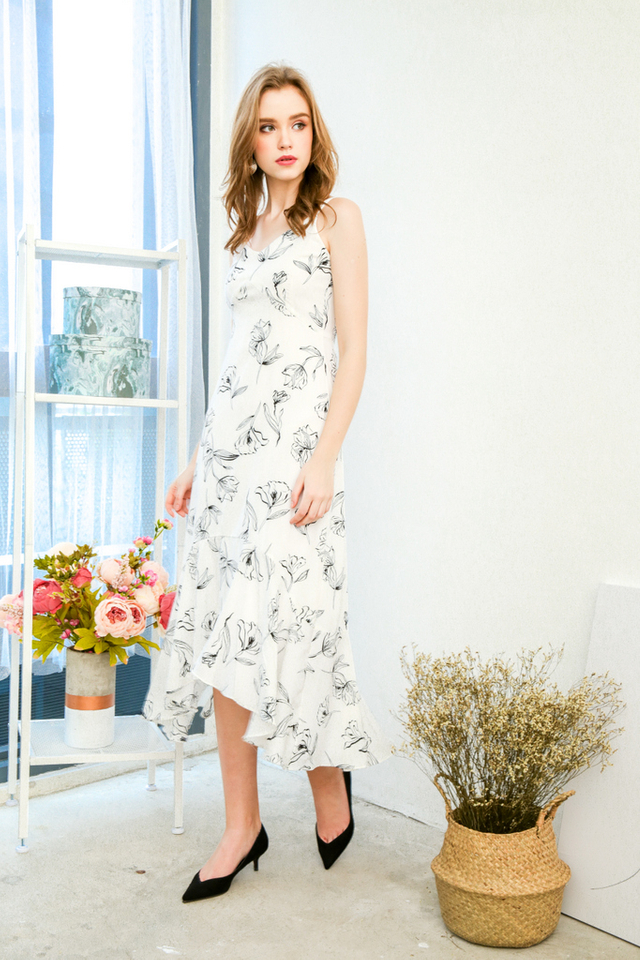 Abigail Asymmetrical Floral Slip Dress in White