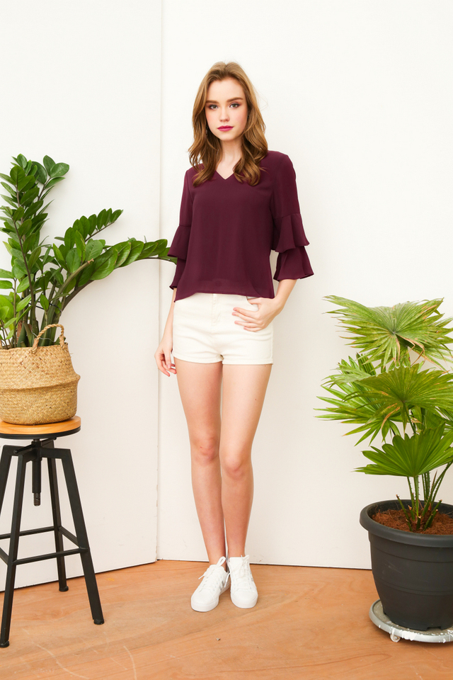 Alana Chiffon Bell Sleeve Top in Purple