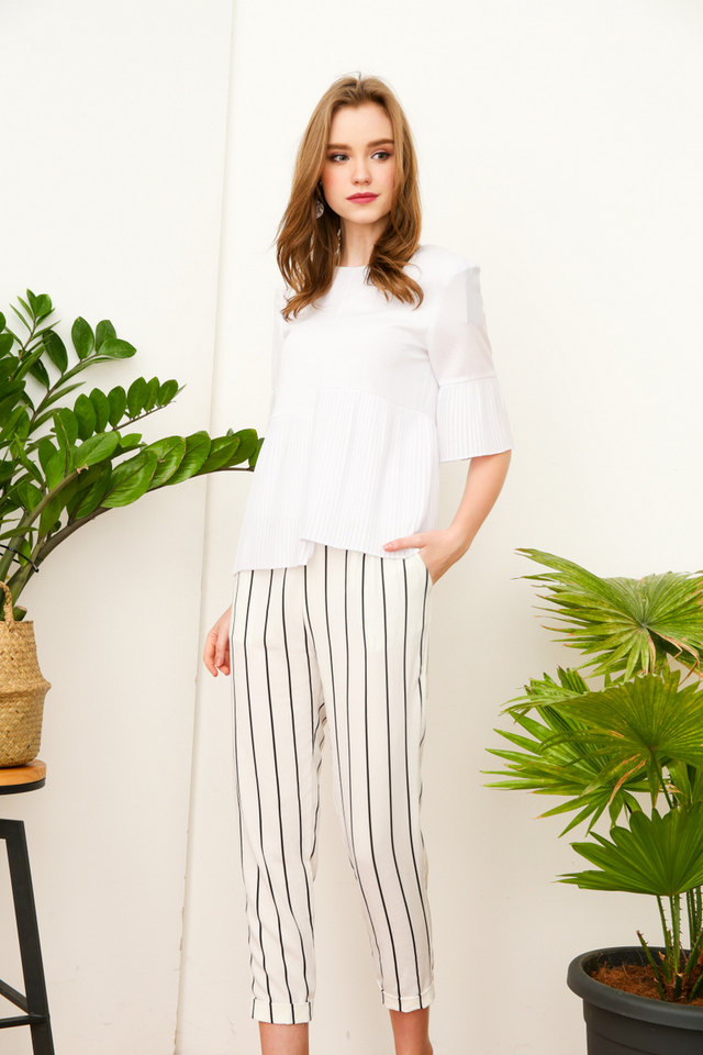 Diego Asymmetrical Pleats Top in White