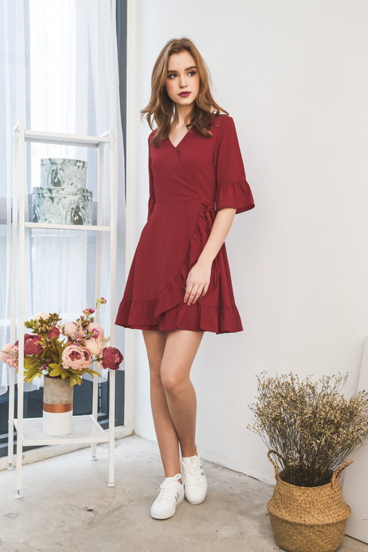 Allura  Faux Wrap Ruffles Dress in Maroon