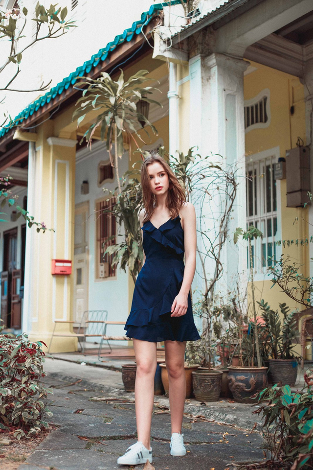 Evie Ruffled Cami Dress in Navy Blue