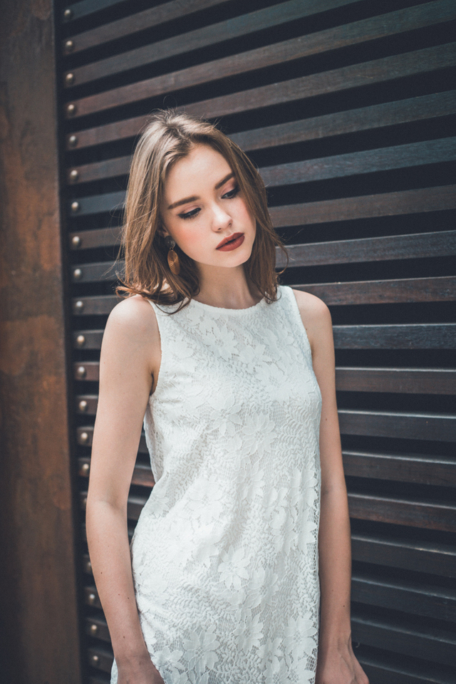 Clary Lace Trapeze Dress in White