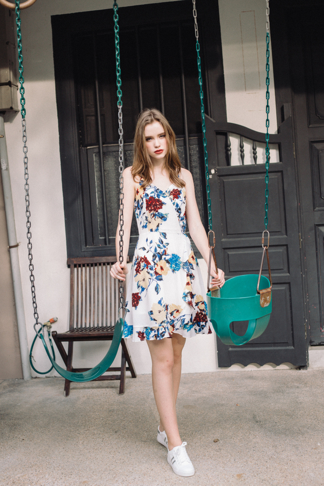 Massie Floral  Cami Dress in White