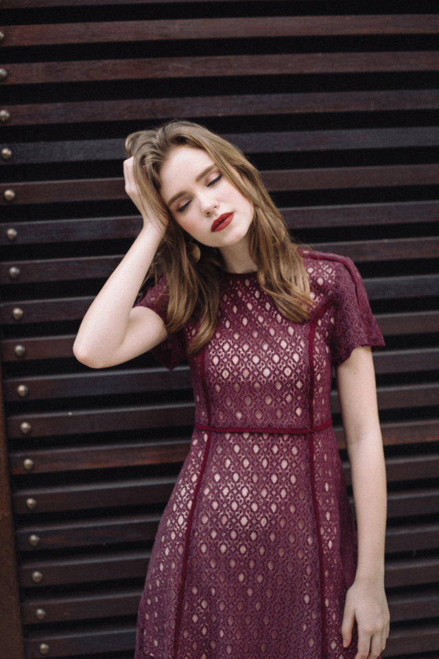 Ana Lace Work Dress in Burgundy