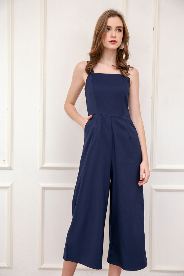 Zara Square Neckline Jumpsuit in Navy Blue