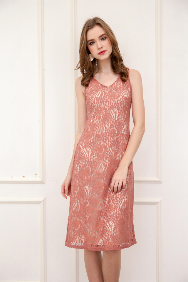Kera V Neck Lace Midi Dress in Terracotta
