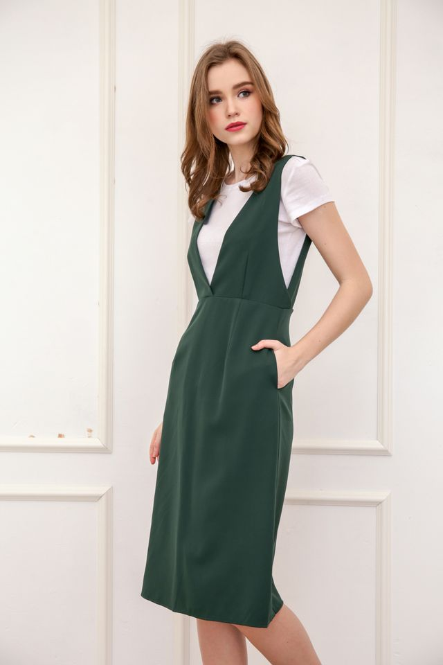 Kass Deep V Neck Pinafore Dress in Forest (XS)