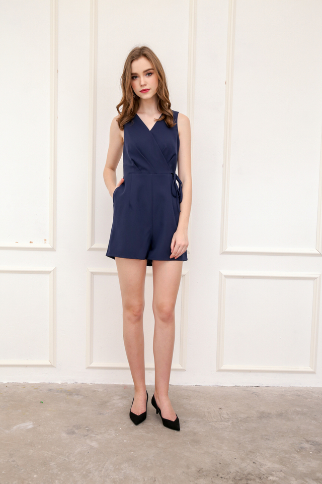 Blanca Faux Wrap Playsuit in Navy Blue