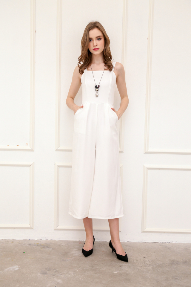 Zara Square Neckline Jumpsuit in White
