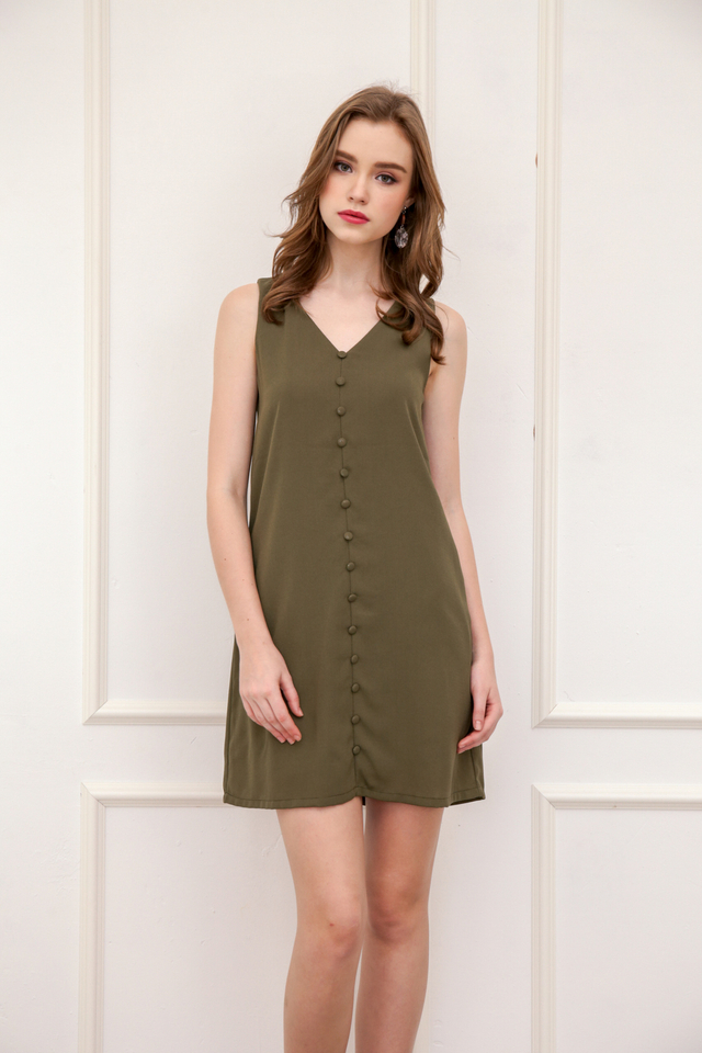 Evon Button Down Trapeze Dress in Olive