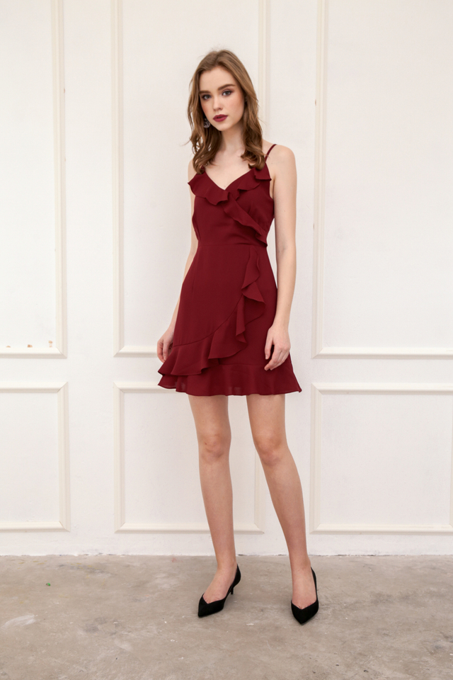 Evie Ruffled Cami Dress in Brick Red