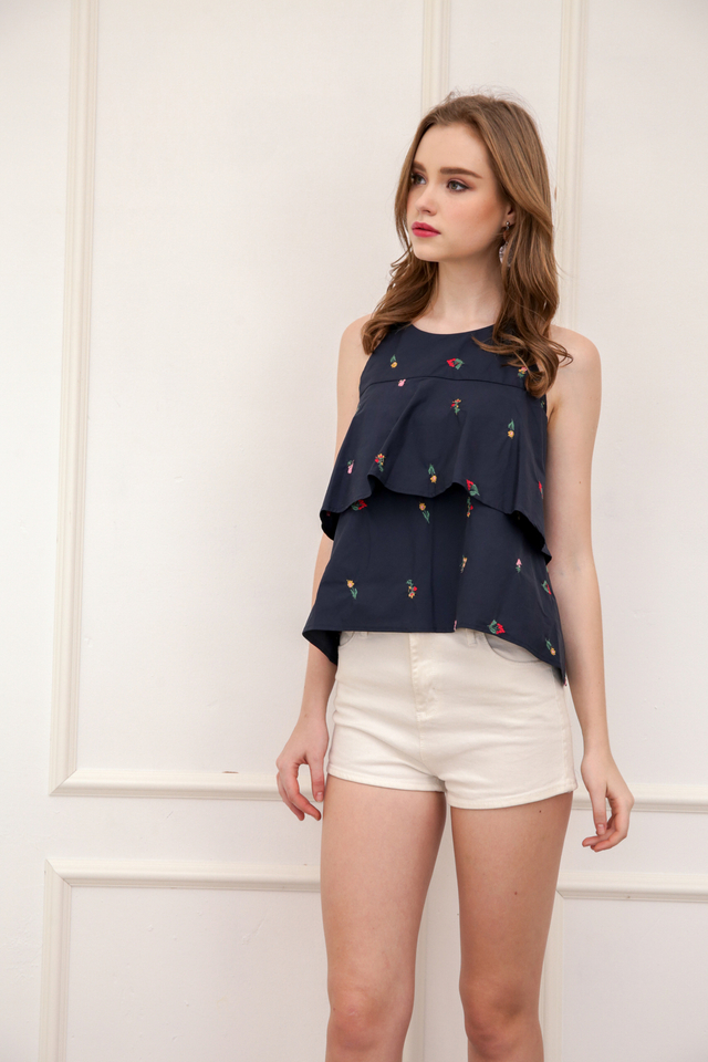 Poland Mini Floral Halter Top in Navy (L/XL)