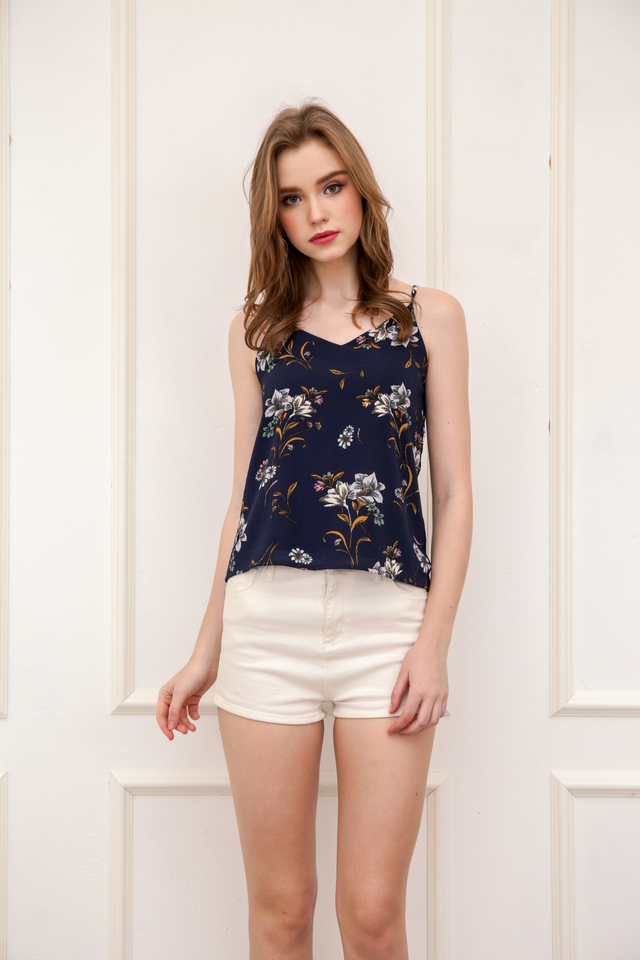 Pez Floral Spag Top in Navy