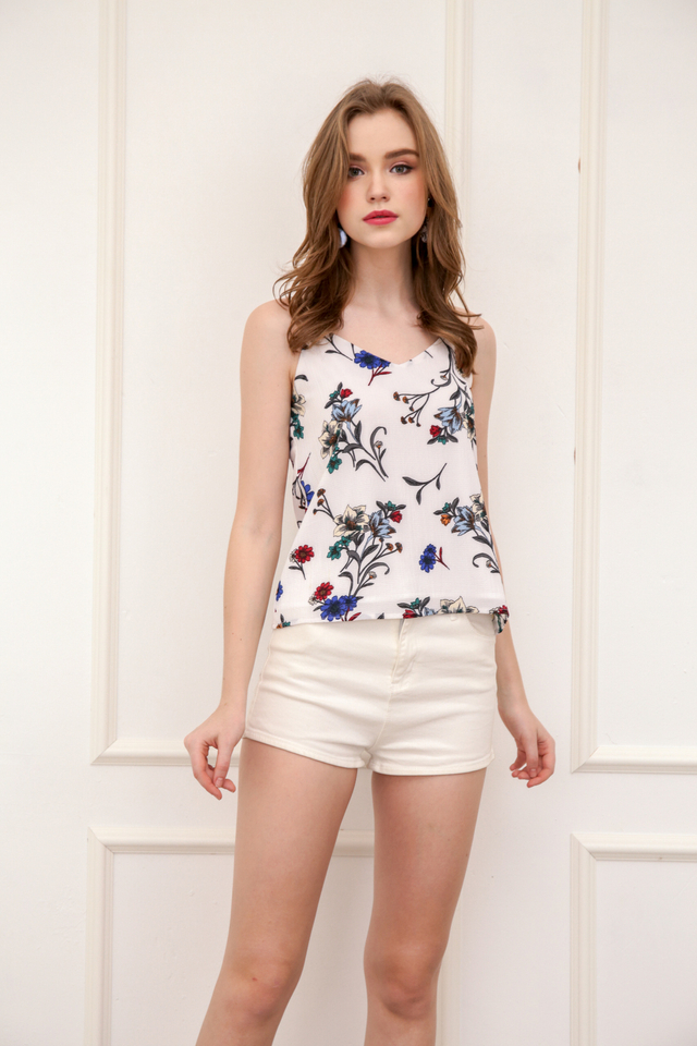 Pez Floral Spag Top in White