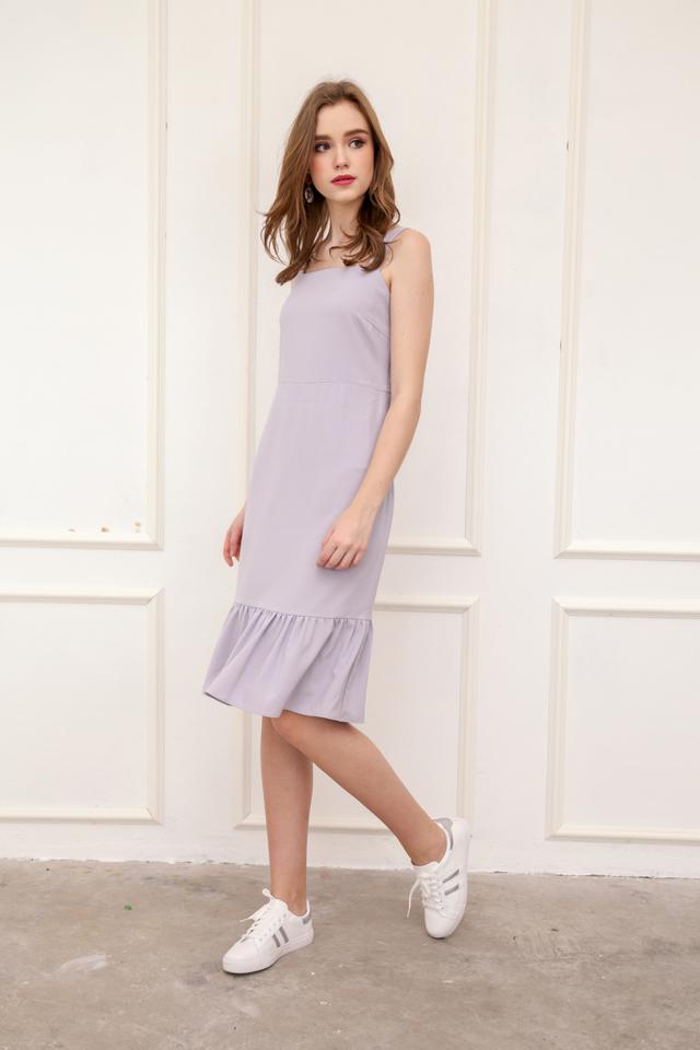Vann Dropwaist Midi Dress in Lilac Grey