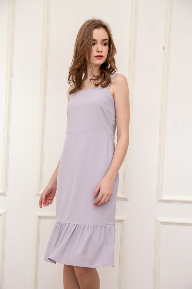 Vann Dropwaist Midi Dress in Lilac Grey