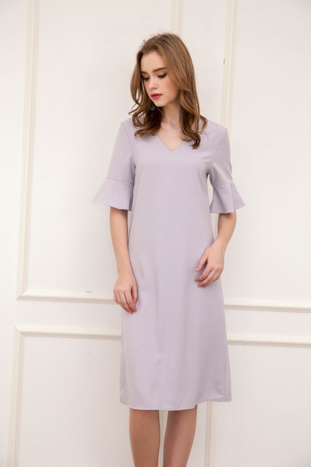 Rachal Fluted Sleeve Midi Dress in Grey