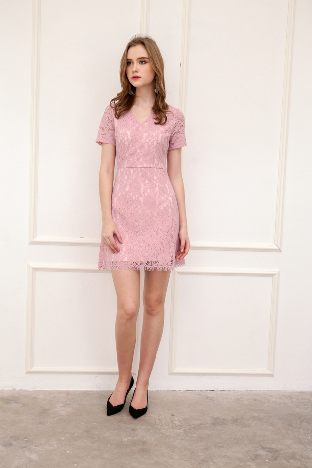 Desiree Faux Wrap Lace Dress in Pink (L)