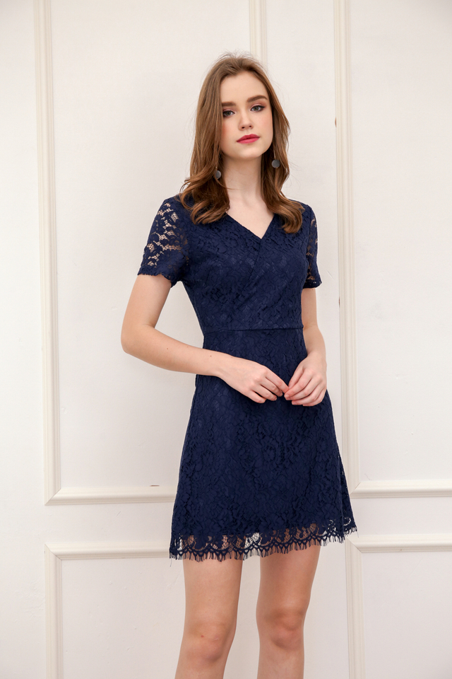 Desiree Faux Wrap Lace Dress in Navy (M)