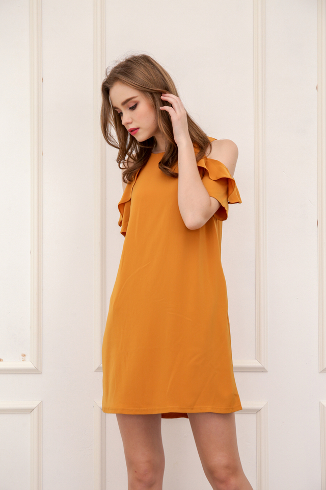 Orielle Ruffled Cold Shoulder Dress in Mustard