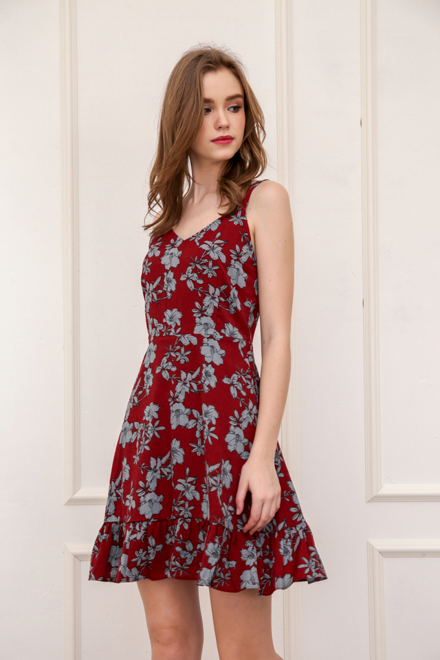 Milicent Floral Dropwaist Dress in Brick Red