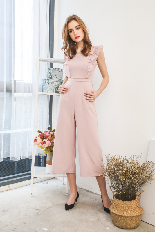Tanisha Ruffled Jumpsuit in Dusty Pink (L)