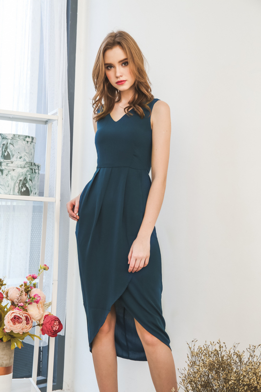 Sara Petal Maxi Dress in Teal