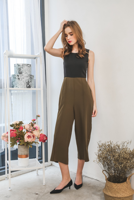 Arial Duo Tone Maxi Jumpsuit in Olive