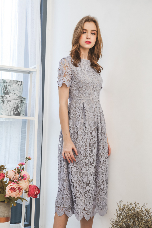 Frostine Crochet Maxi Dress in Lilac Grey
