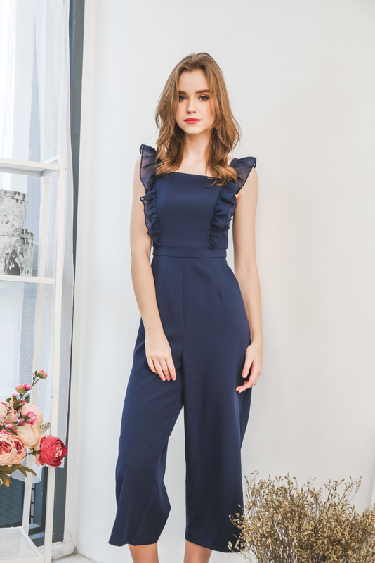 Tanisha Ruffled Jumpsuit in Navy