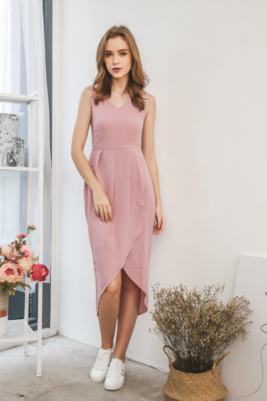 Sara Petal Maxi Dress in Dusty Pink