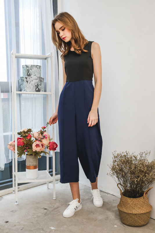 Arial Duo Tone Maxi Jumpsuit in Navy