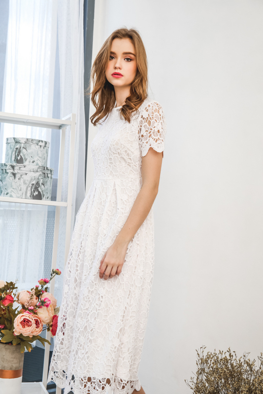 Frostine Crochet Maxi Dress in White