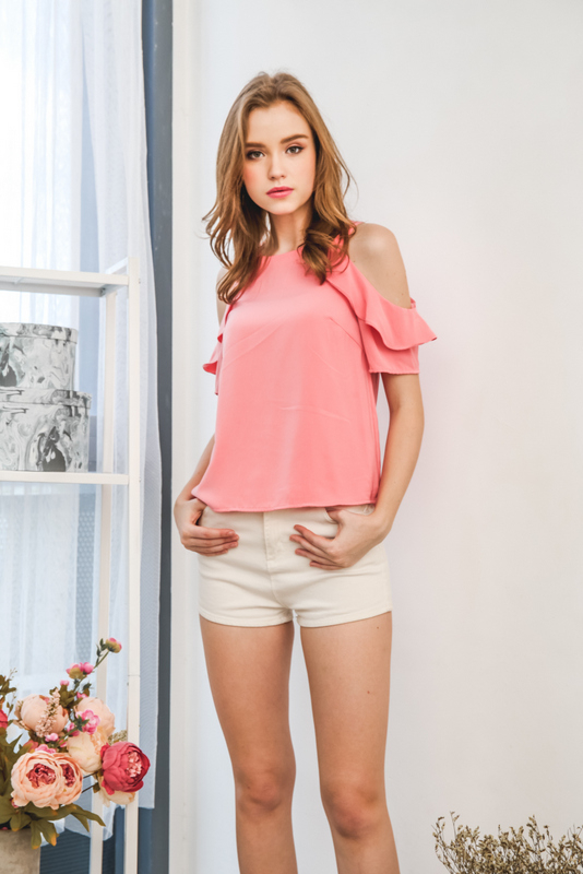 Orielle Ruffled Sleeve Cold Shoulder Top in Coral