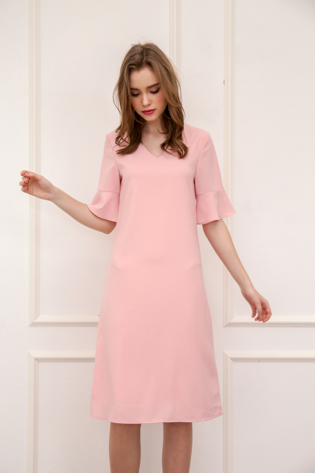 ca393458a2bf Rachal Fluted Sleeve Midi Dress in Baby Pink