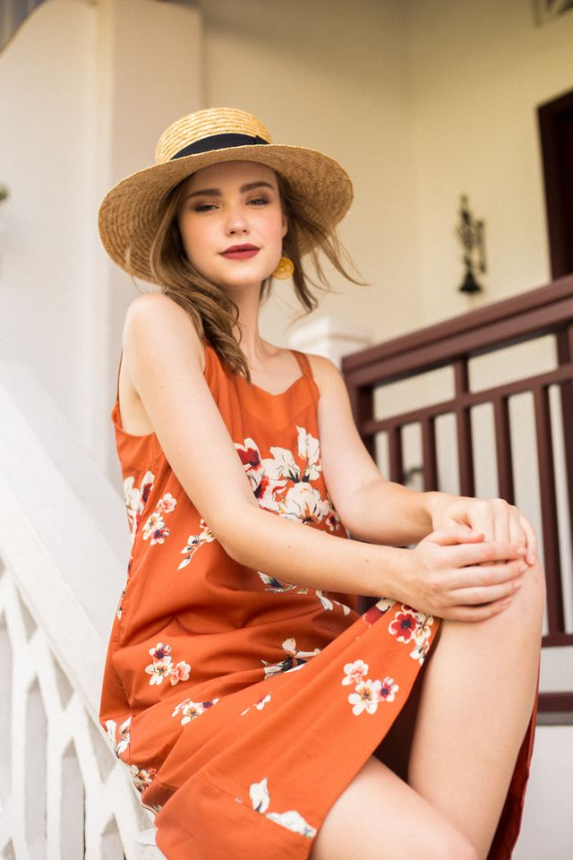 Roselen Floral Trapeze Dress in Pumpkin (L)