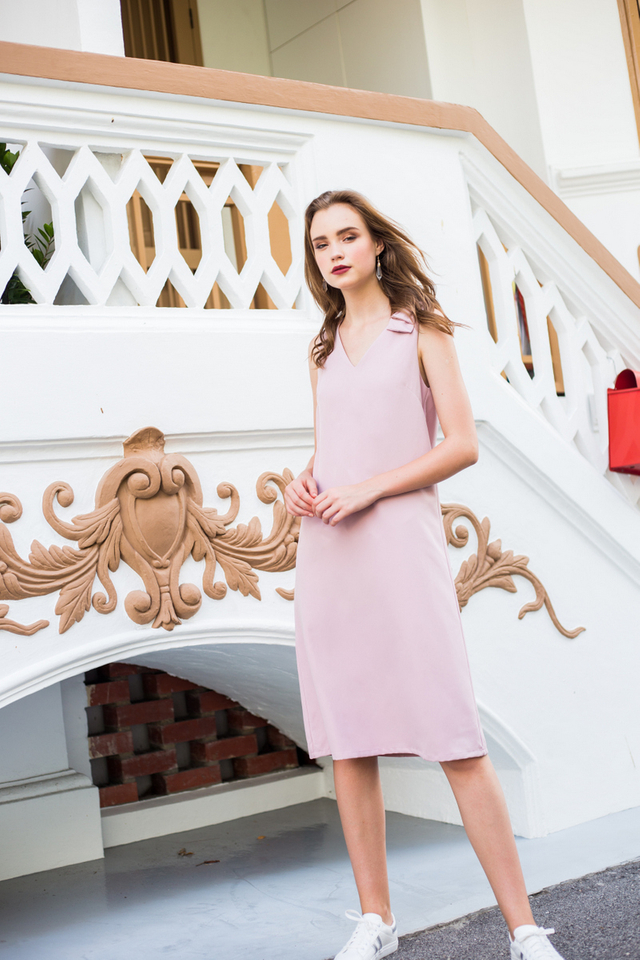 Coralia Ribbon Midi Dress in Dusty Pink